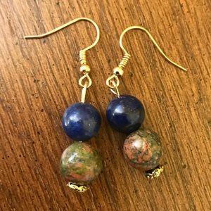 Jewelry - Handmade lapis and jasper earrings